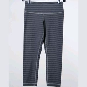lululemon athletica Pants - Lululemon Gray & Black Striped Crops